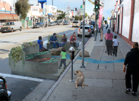An example of a parklet, one of several temporary installations advocates will install on West Colfax Avenue next month. Image: West Colfax Business Improvement District. Image: Streetsblog LA