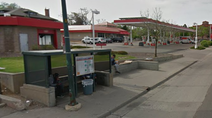 Not exactly an inviting place to bike or even walk. Driveways for cars are on either side of this sidewalk section. Image: Google Maps