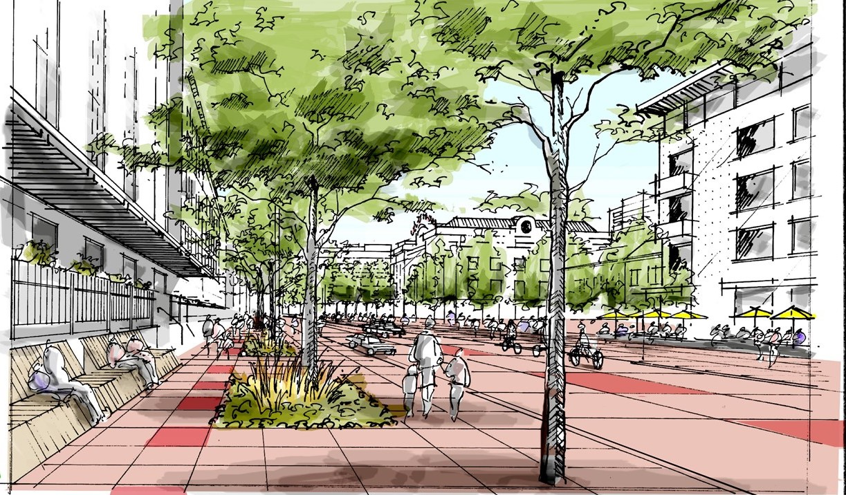 An illustration depicts the plaza in front of Union Station extending across the entire street, an option being considered under the 5280 Trail Project. Image: Downtown Denver Partnership