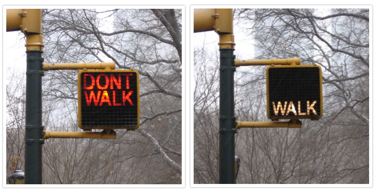 """""""Don't Walk"""" and """"Walk"""" signs in Manhattan"""